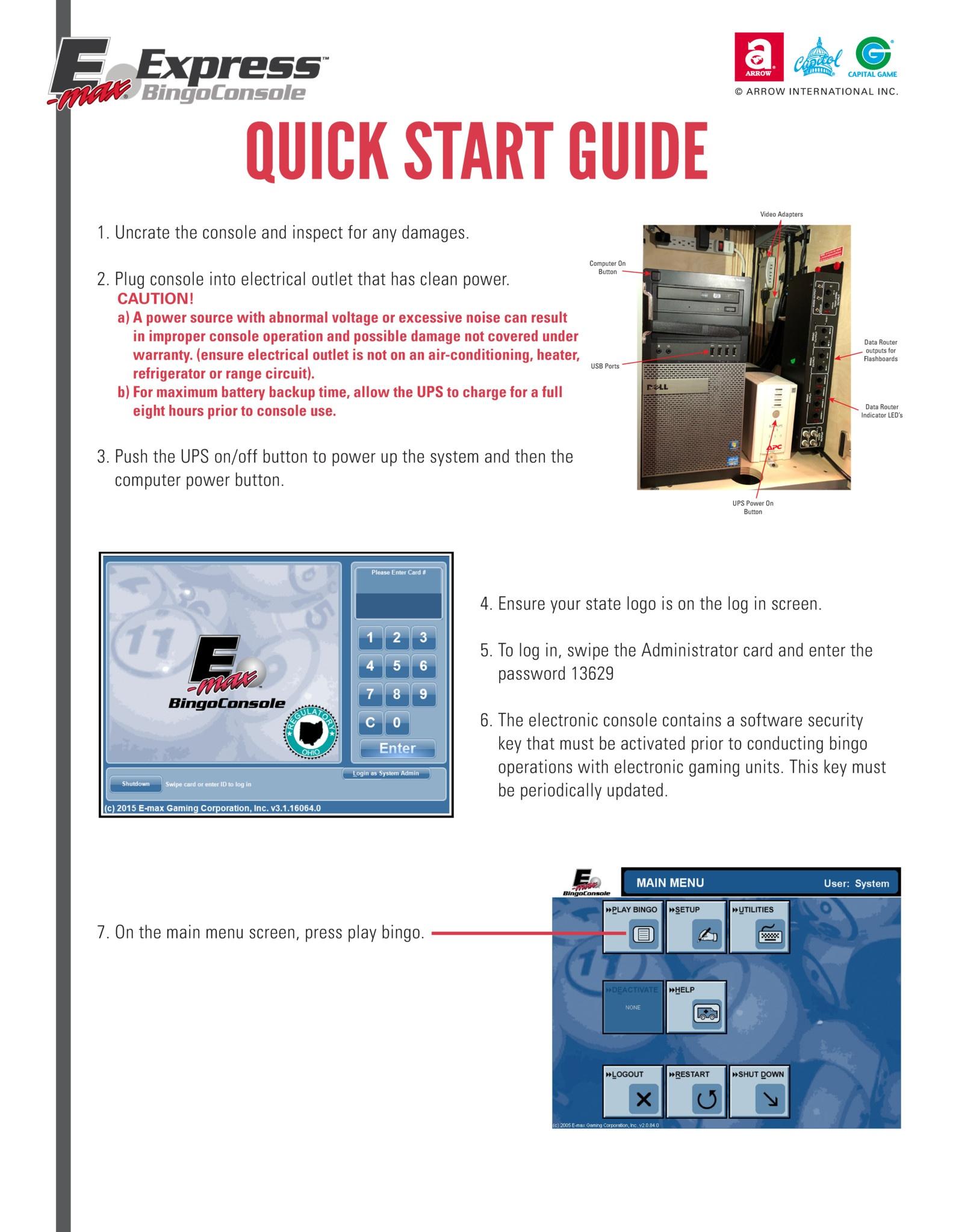 E-max Express Quick Start Guide Equipment Manuals/Quick Start Guides