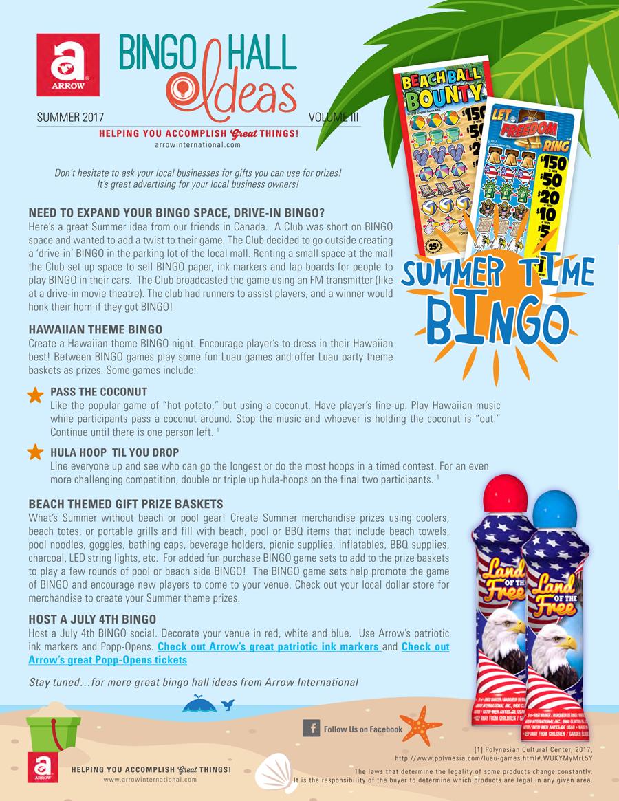 arrow international bingo hall ideas newsletter